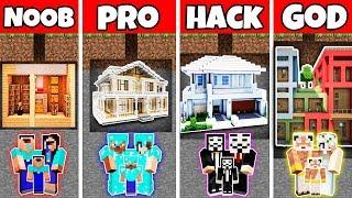 Minecraft: FAMILY MODERN UNDERGROUND HOUSE BUILD CHALLENGE-NOOB vs PRO vs HACKER vs GOD in Minecraft