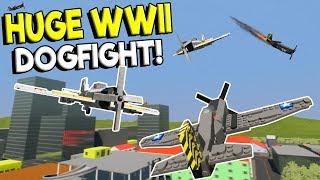 LEGO WWII PLANE CITY BATTLE - Brick Rigs Multiplayer Gameplay - Lego Plane Destruction