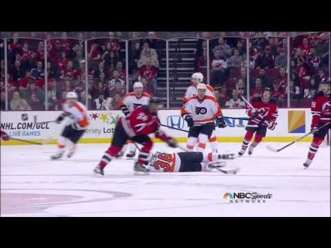 Ryan Carter knee on knee trip on Zac Rinaldo Mar 13 2013 Philadelphia Flyers vs NJ Devils NHL Hockey