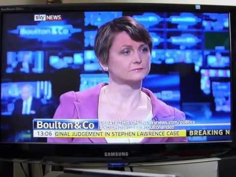 Adam Boulton interviews Yvette Cooper about Ken Clarke's comments on rape
