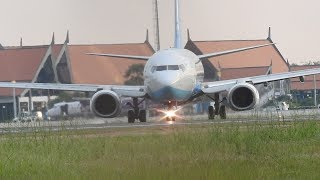 Extreme Crosswind Landing and Take off Airplane at Airport in Cambodia