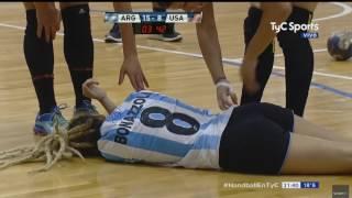 Tarjeta Roja en amistoso ARG-USA - Handball femenino