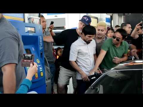 Manny Pacquiao SWARMED at gas station