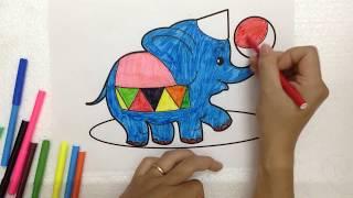 Tô màu con voi đẹp Color the elephant Bé học màu Color learn Kỹ năng sống Life skill