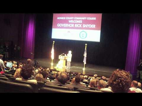 Rick Snyder speaks at Monroe County Community College