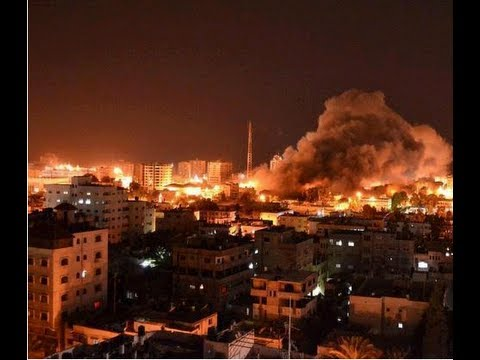 Israel bombing Gaza at night