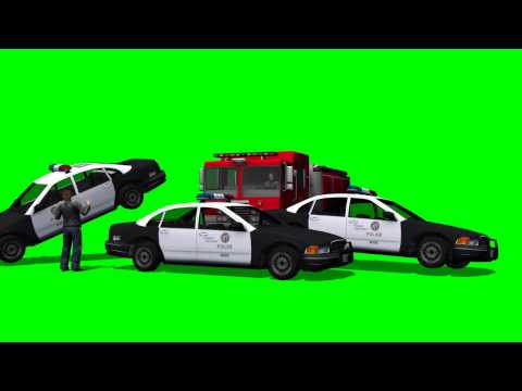 Police Car Towed Police Cars Greenscreen