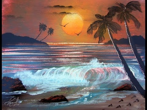 Ocean Sunset -Spray Paint Art