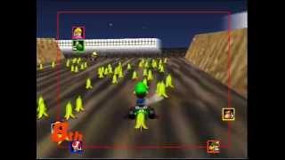 Mario Kart 64 - Spamming infinite bananas on Wario Stadium