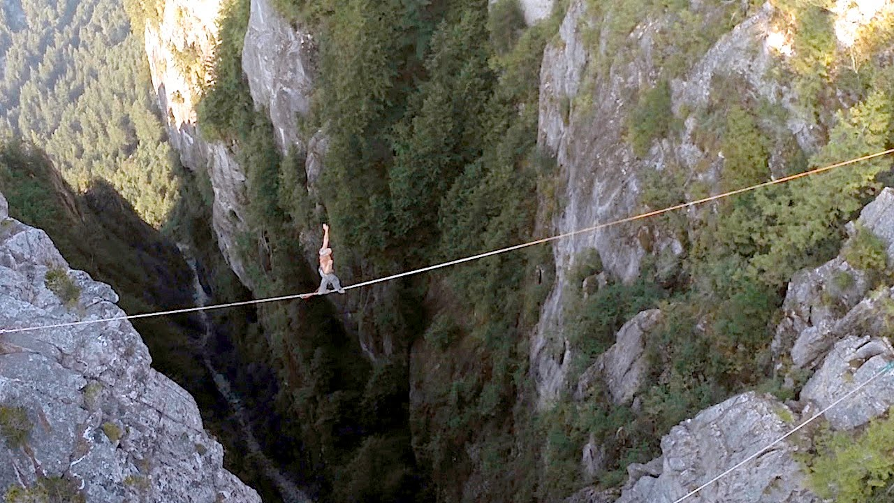 Would You Ever Walk A Line Over A Waterfall With No Safety Gear?