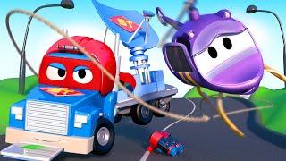 Carl the Super Truck is a Radar Truck and Saves Hela the Helicopter  - Carl the Super Truck