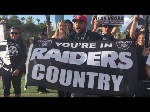 Raider Nation Celebrates the Las Vegas Raiders at the Welcome to Fabulous Las Vegas Sign
