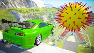 High Speed Jumping into Giant Spike Ball Crashes - BeamNG drive