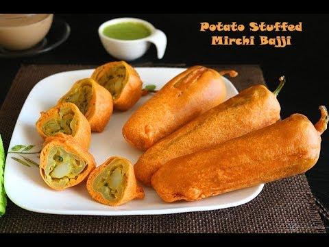 Stuffed Mirchi Bajji Recipe | மிளகாய் பஜ்ஜி | Stuffed Menasinakai Bajji | #MilagaiBajjiRecipe