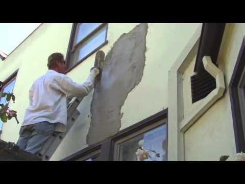 Step by step stucco applications. Plaster big holes in stucco fast