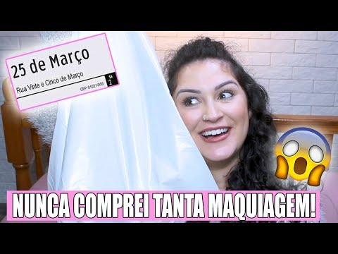 GASTEI 300 REAIS NA 25 DE MARÇO E NUNCA COMPREI TANTA MAQUIAGEM! thumbnail