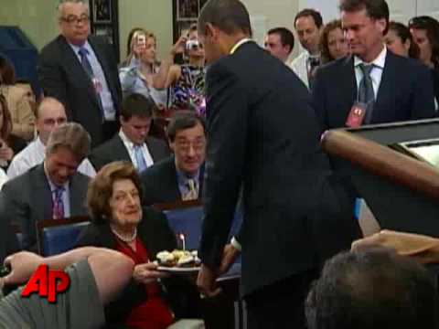 Raw Video: Obama Visits Press Room on Birthday