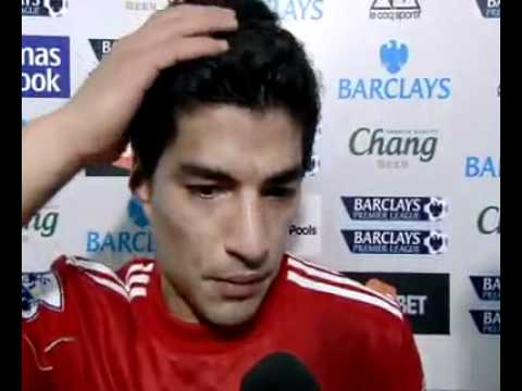 Liverpool's Luis Suarez after their 2-0 win at local rivals Everton.