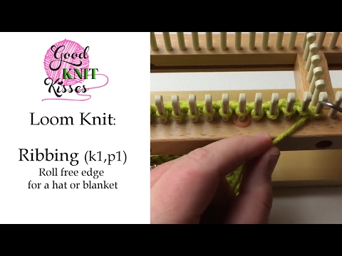 Loom Knit: Ribbing - Roll Free Edge for hat or blanket