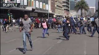 Zimbabwe riot police cracks down on anti-govt. protesters in Harare