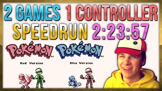2 Games 1 Controller Pokemon Red + Blue Speedrun in 2:23:57