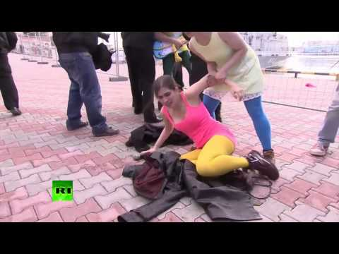 In Sochi Performance Fail , Pussy Riot Whipped By Cossack video