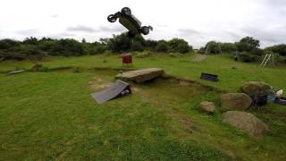 RC Trophy Buggy flux Double air crashes smashes and crazy Jumps