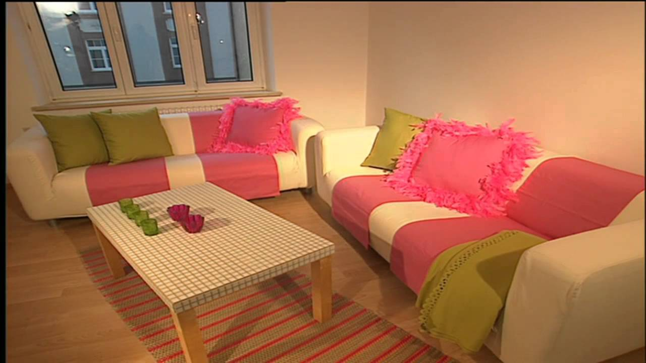 Deko Tipps: Retro Wohnzimmer: Innendekoration in Rosa - YouTube