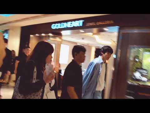 Kim Woo Bin and Kang Dong Won entering Plaza Singapura 12012017