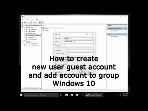 How to create new user guest account and add account to group Windows 10