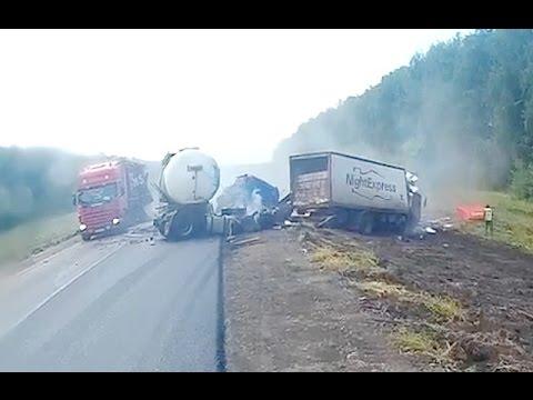 Ужасные аварии большегрузов.  Жесть