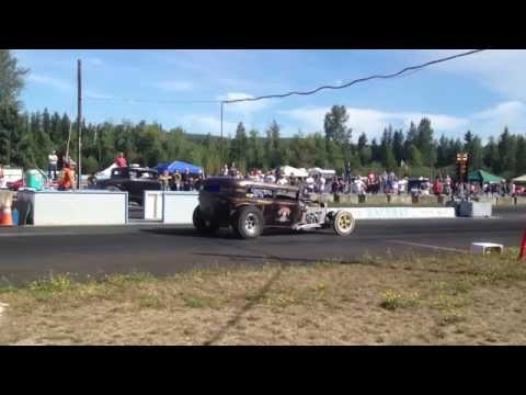 30' MODEL A COUPE VS. HURST TIRE SEDAN BILLETPROOF ERUPTION DRAGS TOUTLE, WA 2013