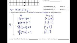 PAP 9/28  Discontinuous Piecewise Functions