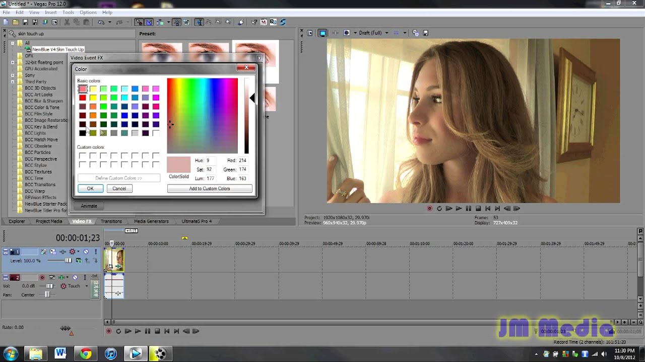 How to Use the Skin Touch Up Plugin from NewBlue FX Sony Vegas Pro
