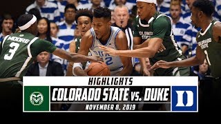 Colorado State vs. No. 4 Duke Basketball Highlights (2019-20) | Stadium