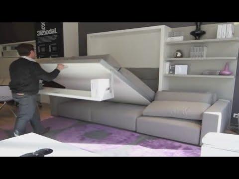 Armoire lit escamotable swing bimodal par la maison du convertible youtube for Armoire lit canape