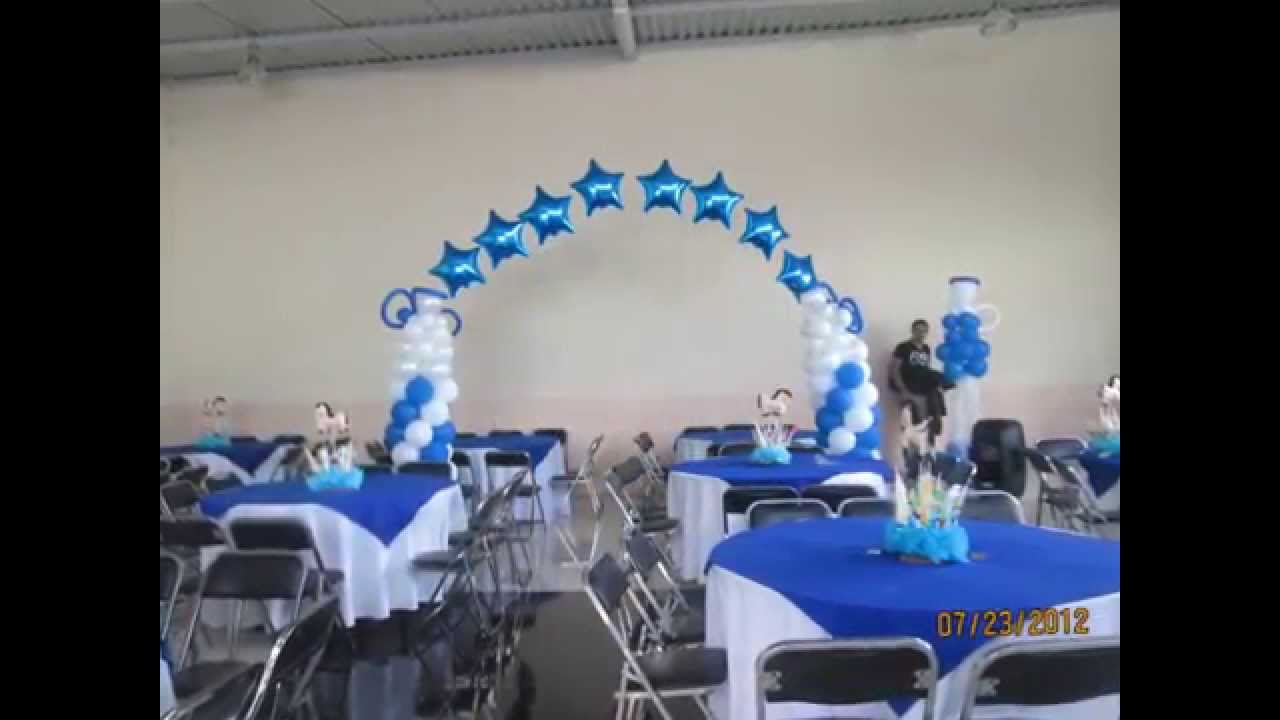 Decoracion en globos bautizo youtube for Decoracion de globos para bautizo