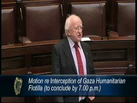 Michael D Higgins TD speaking on the Dáil motion about Interception of Gaza humanitarian Flotilla
