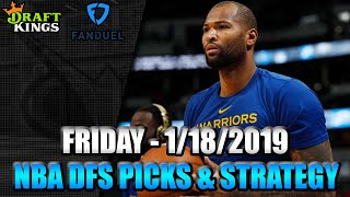 1/18/19 - NBA FanDuel & DraftKings Picks - Lineup Strategy