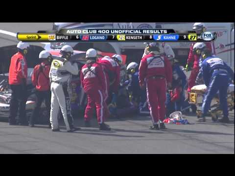 Denny Hamlin Fontana Wreck at the Finish - Joey Logano wrecks Hamlin