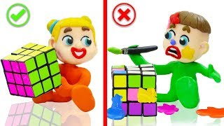 SUPERHERO BABY PLAYS COLORS RUBIKS CUBE 💖 Play Doh Cartoons Animation