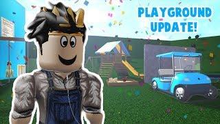 THE NEW BLOXBURG PLAYGROUND AND GOLF CART UPDATE!!! My new ride!