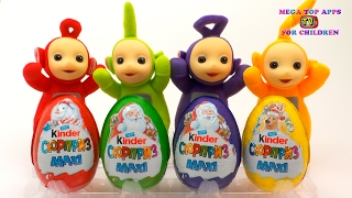 Learn Colors with Teletubbies Tinky Winky Lala Po Dipsy open Huge Kinder Surprise Chocolate Egg