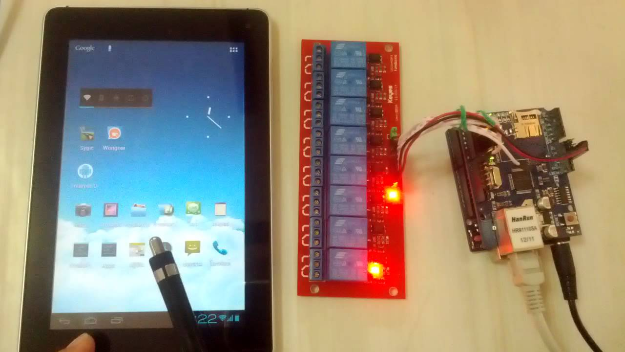 Android internet control device with arduino board