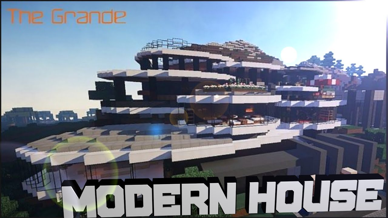 Minecraft pocket edition modern house download youtube for Big modern houses on minecraft