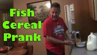 [Hilarious Fish Cereal Prank on Dad] Video