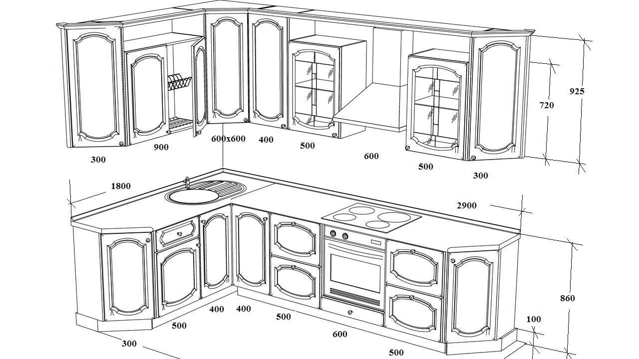Чертежи кухонной мебели с размерами