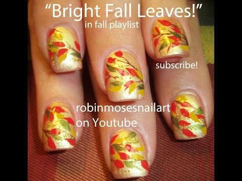 DIY Fall Leaves on Gold Nails! | Easy Autumn Nail Art Design Tutorial
