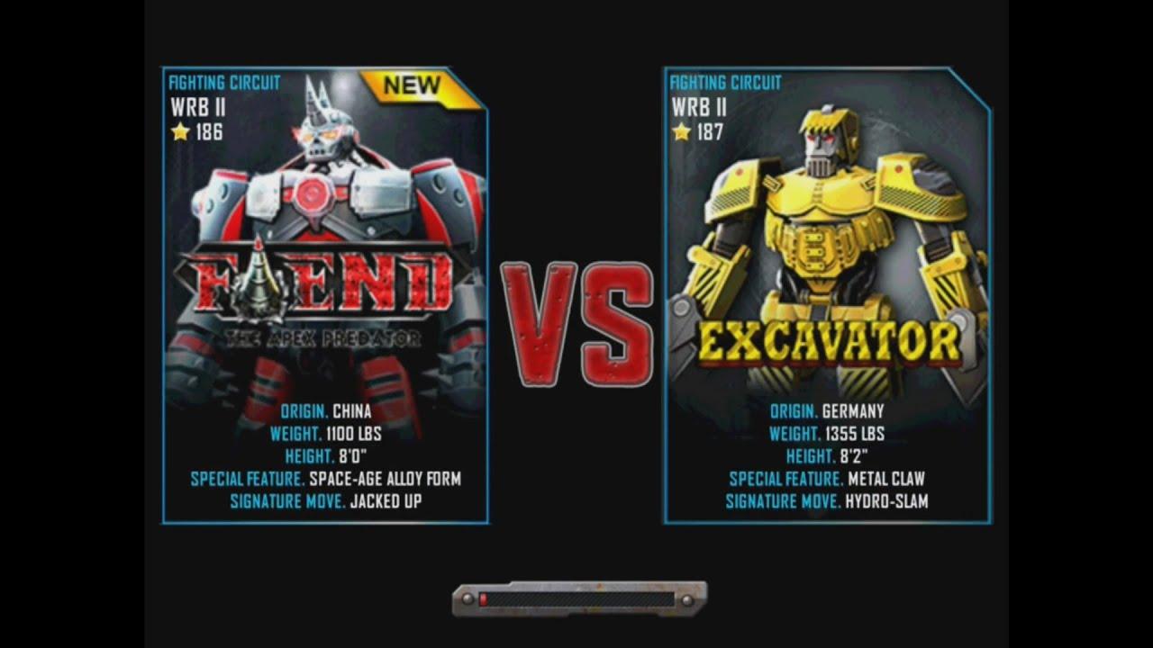 Excavator Real Steel Wrb Real Steel Wrb Fiend vs