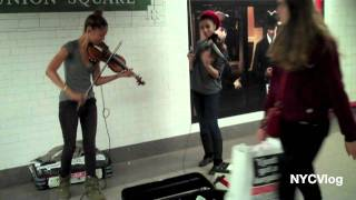 Female Violin Players In Union Square Subway Station NYC
